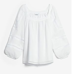 NWT Express Square Neck Embroidered Sleeve Top